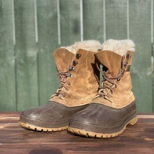 Sorel Leather Fleece Lined Duck Winter Work Boots